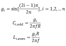 Equations for Butterworth Low Pass Filter