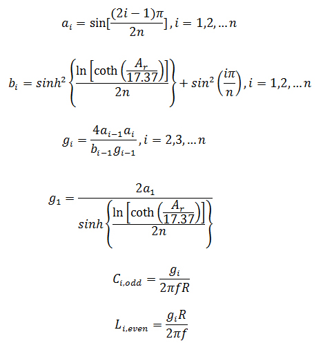 Equations for Chebyshev Low Pass Filter